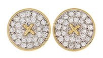 Tiffany & Co. Vintage Tiffany Co. 18k Yellow Gold Diamond Button Ct Earrings
