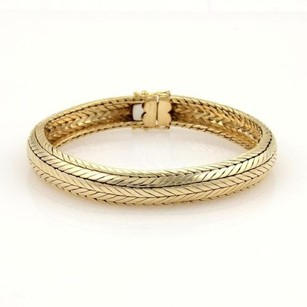 Tiffany & Co. Vintage Tiffany Co. 18k Yellow Gold Woven Design Dome Flex Bracelet