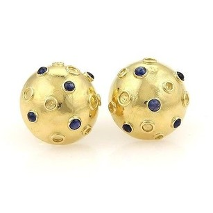 Tiffany & Co. Vintage Tiffany Co. Cabochon Sapphire Half Dome Stud 14k Gold Earrings
