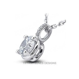 Tiffany Jones Designs 2.26ctw H-vs1 V.good Round Natural Diamond 18k Prong Style Accent Pendant 9.4mm