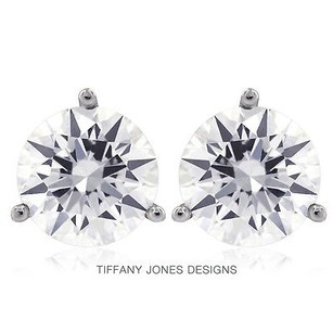 Tiffany Jones Designs 3.08ct Tw I-vs2 V.good Round Natural Diamonds 14k 3-prong Solitaire Studs 1.45gr