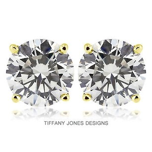 Tiffany Jones Designs 4.02ct Tw G-vs2 Exc Round Natural Diamonds 14k 4-prong Solitaire Earrings 1.71gr