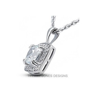 Tiffany Jones Designs 4.53ct Tw I-si3 V.good Princess Natural Diamond 950pl Prong Accent Pendant 13mm