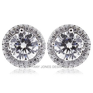 Tiffany Jones Designs 4.60ct Tw H-si1 Exc Round Natural Diamond 18k Earrings With Halo 3.43gr