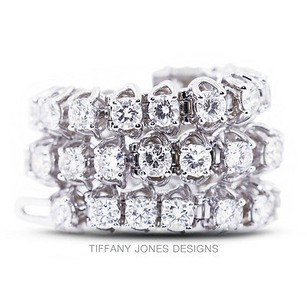 Tiffany Jones Designs Ct Tw G-vs2 Exc Round Natural Diamonds 14k 4-prong Womens Bracelet 21.53gr
