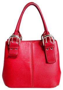 Tignanello Genuine Leather Supple Pebble Double Handles Handle Top Satchel in Red