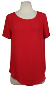 Tildon Womens Short Sleeve Casual Shirt Polyester Top Red