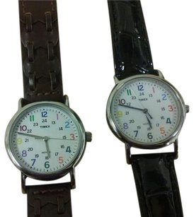 Timex Timex indigo white dial with colorful numbers.