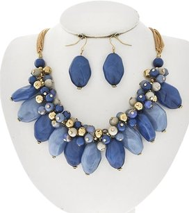 Gold Tone Blue Acrylic & Glass Crystal Necklace & Earrings