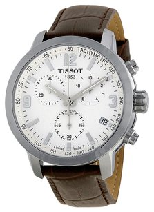 Tissot PRC 200 Chronograph White Dial Brown Leather Men's Watch