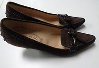 Tod's Tods Stitched Dark Brown And blue Pumps