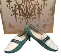 Tod's Tods Green Suede White Multi-Color Flats