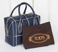 Tod's Tods Navy Leather Satchel in Blue