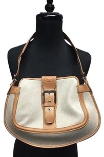 Tod's Canvas Front Leather Buckle Casual B3386 Shoulder Bag