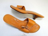Tod's Italy Leather Slide Camel Sandals