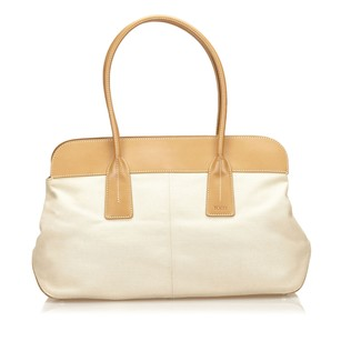 Tod's Beige Canvas Fabric Shoulder Bag