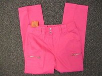 Together Hot Classic Straight Leg Hem Double Cropped Z092 Capri/Cropped Pants Pink
