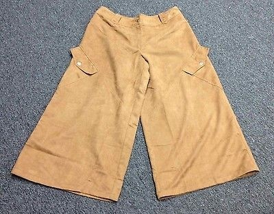 Together Brown Polyester Flat Front Super Wide Leg Cropped Pants Sma 1492 new