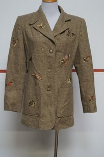 Together Together Tan Green Tweed Embroidery Squirrels Lined Button Up Blazer 22119