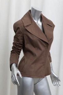 Tom Ford Womens Cotton Blend Blazer Coat 426 Brown Jacket