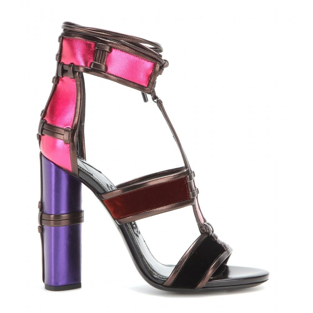 822c37a6edd72e Tom Ford Multicolor Metallic Velvet Patchwork Cage Cage Cage Sandals Size  EU 39 (Approx.