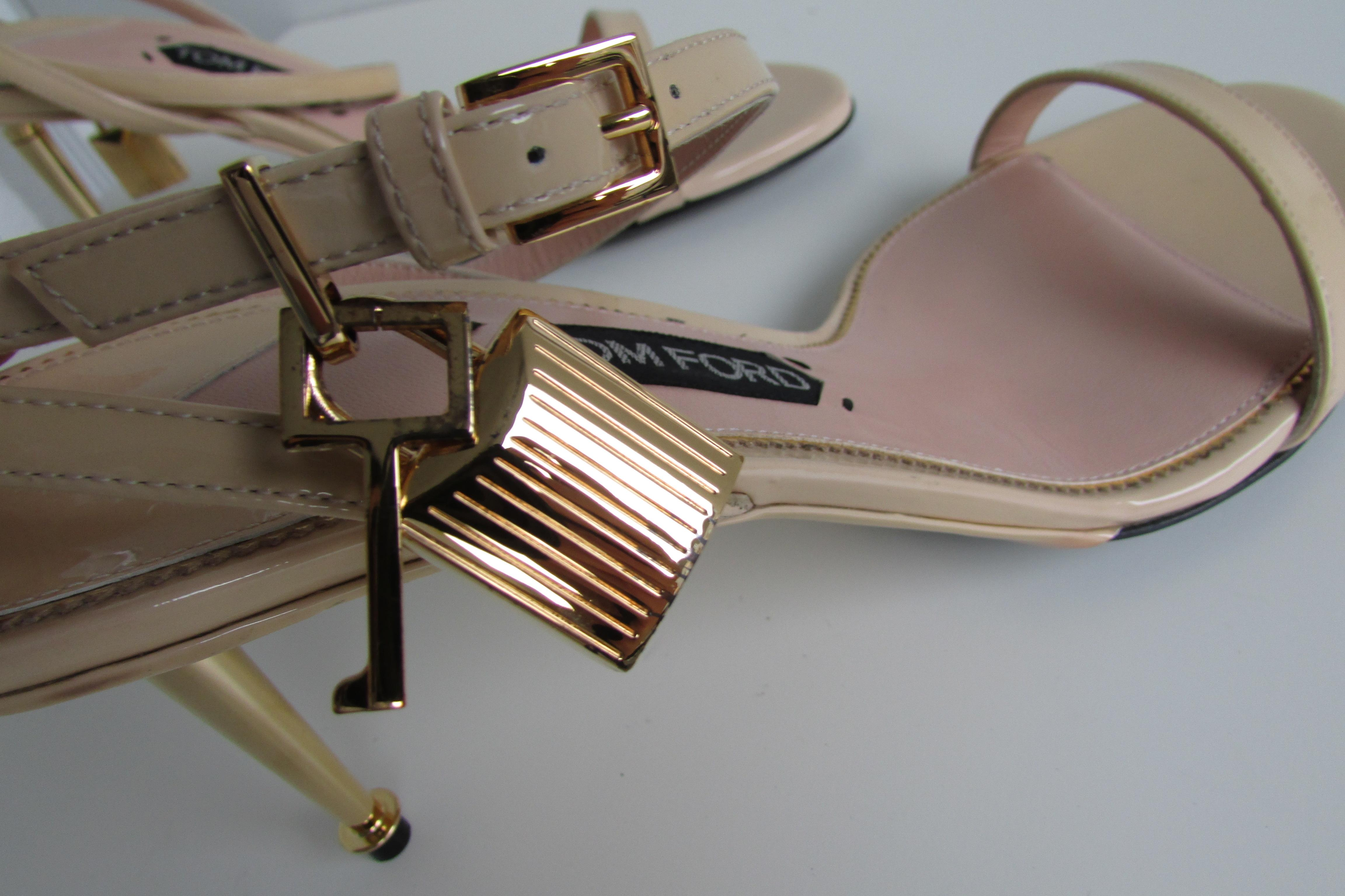 6ae55f443dd7a Tom Ford Nude Ankle-lock Padlock Sandals Size EU 41 41 41 (Approx ...