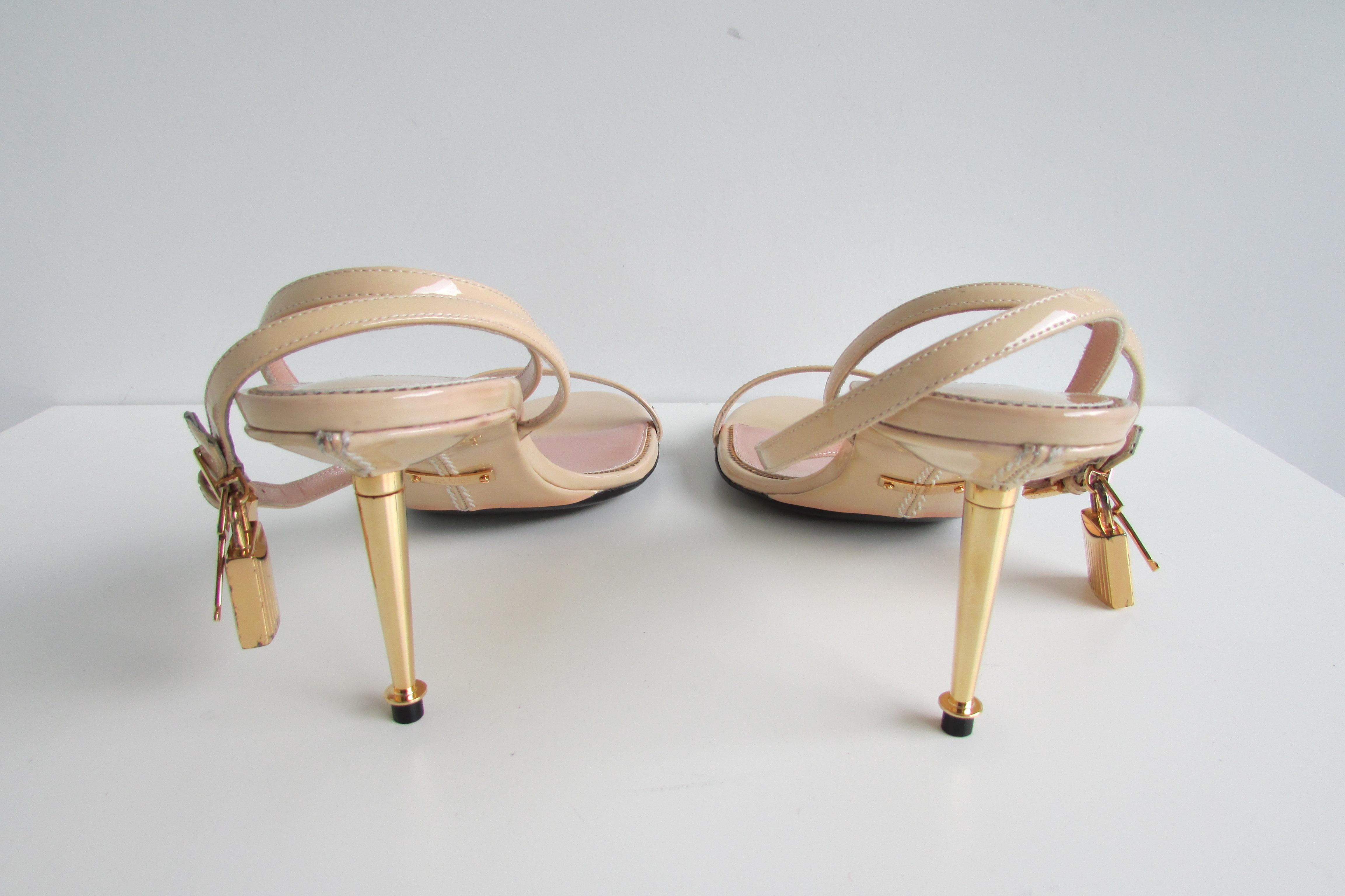 9b651de6e8a Tom Ford Nude Ankle-lock Padlock Sandals Size EU 41 41 41 (Approx ...