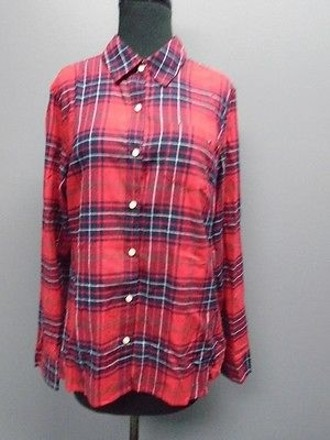 Tommy Hilfiger Red Blue White Plaid Button Down Flannel 2223a on sale
