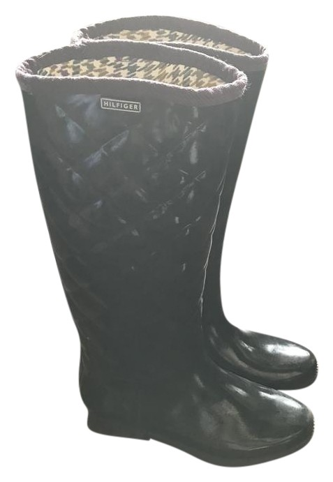 Tommy Hilfiger Black Tw Vintage Quilted Rain Boots Booties
