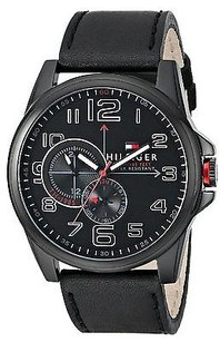 Tommy Hilfiger Tommy Hilfiger Black Ion Leather Chronograph Mens Watch 1791005
