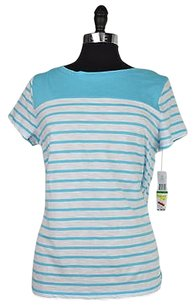 Tommy Hilfiger 40 95 White Striped Short Sleeve Size Top Blue