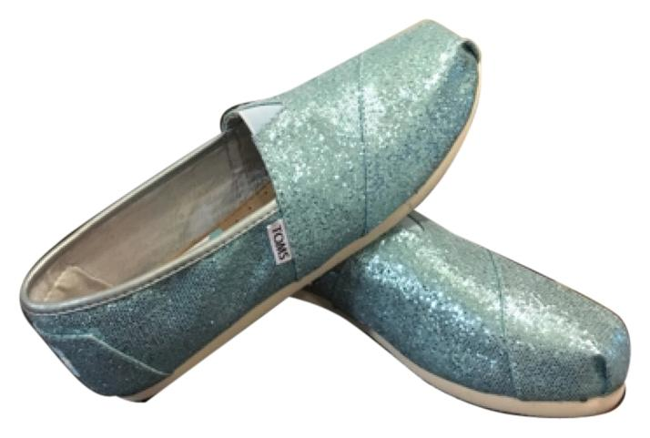 Toms glitter turquoise flats new size 8.5