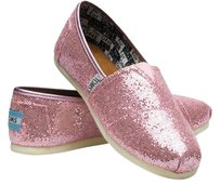 TOMS Youth Girls Pink Glitter New Flats