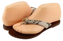 Tony Burch Tory Thora Logo Natural Grey Sandals