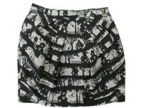 Topshop Top Shop Black White Haunted Mini Skirt Black,White