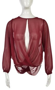 Topshop Sheer Open Front Long Sleeve Polyester Shirt Top Maroon Red