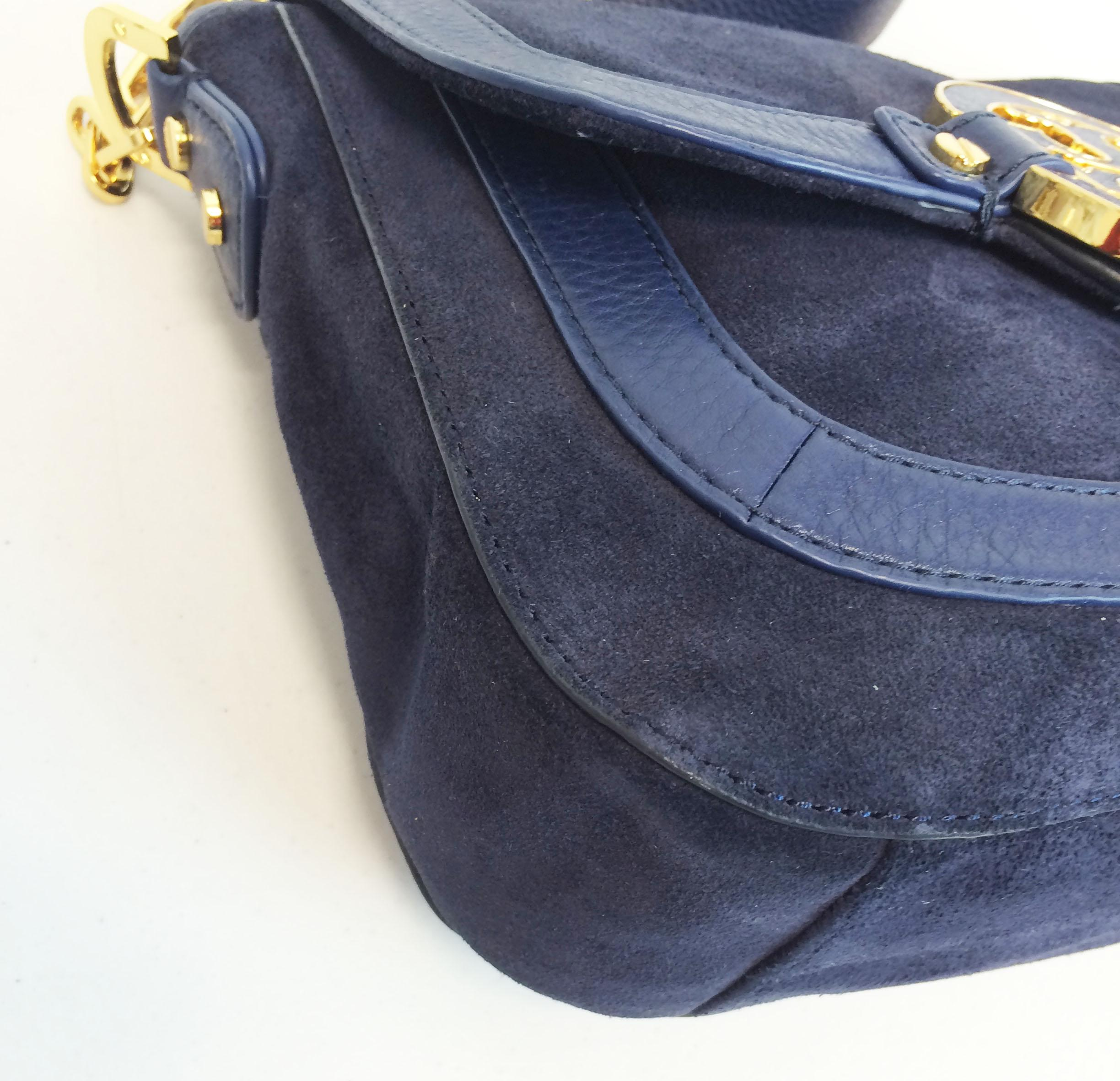 34330123224f ... coupon code tory burch amanda suede leather navy blue suede leather  cross body bag tradesy a904a