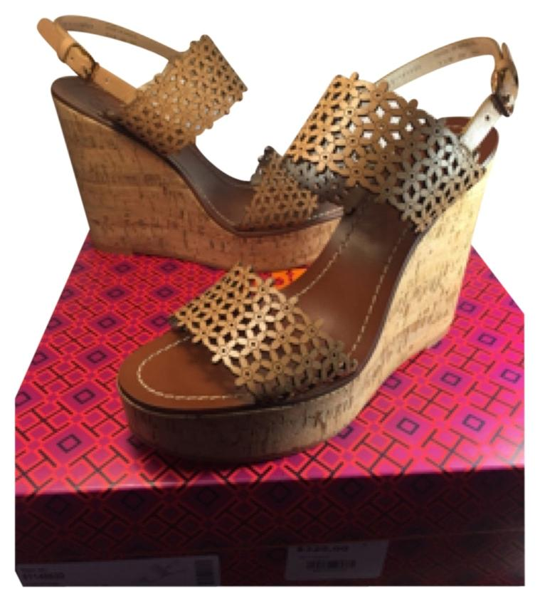 For Sale Cheap Authentic Best Wholesale Cheap Price Tory Burch Woman Printed Canvas Wedge Sandals Size 7.5 Sale For Cheap 797HnRMkg
