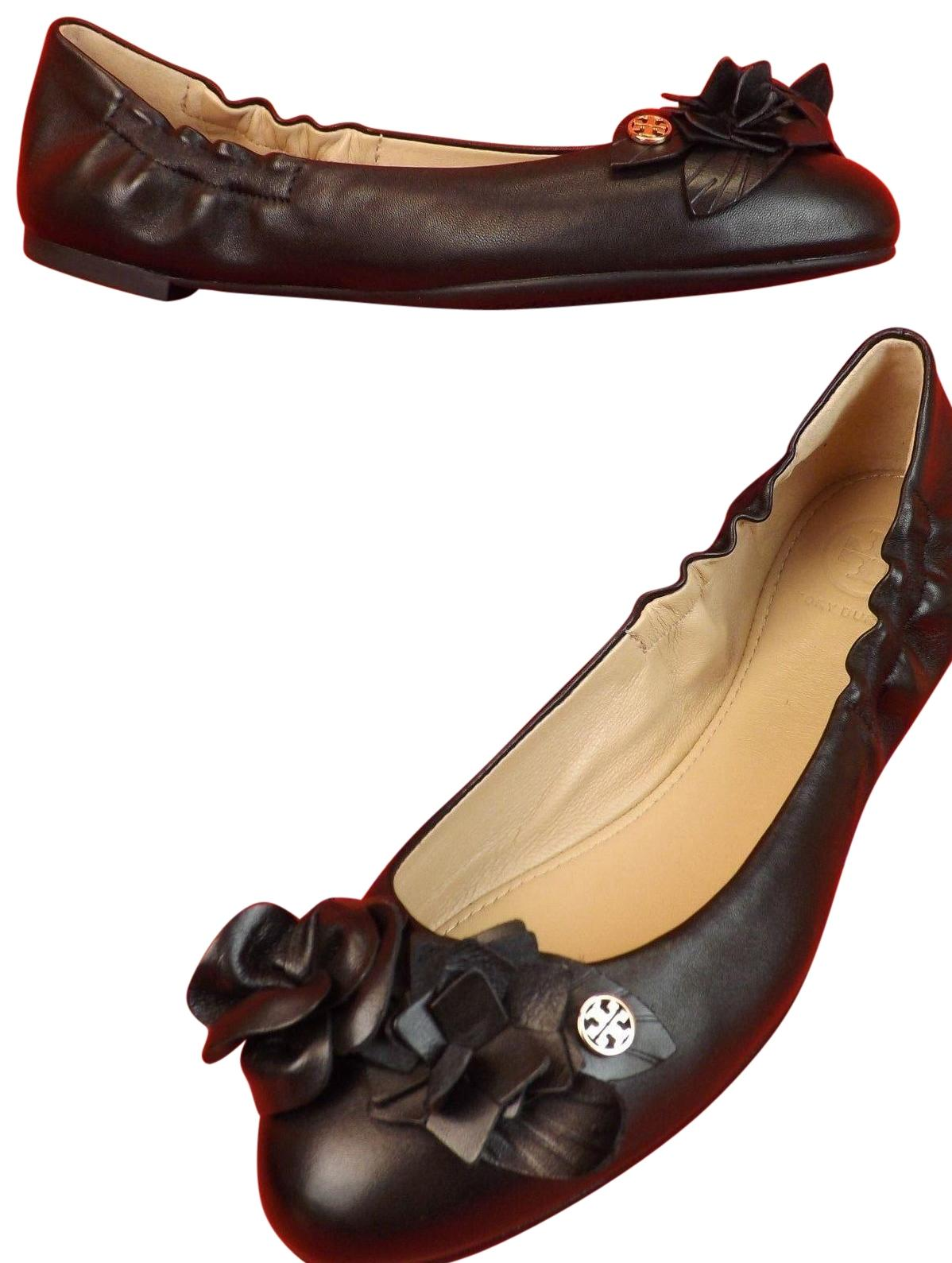 d7d05dcfa33 Tory Burch Black Black Black Blossom Flowers Leather Gold Reva Flats Size US  10.5 Regular ...