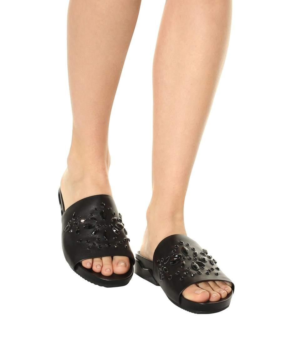 Tory Burch Brae Crystal-Embellished Leather Slides PutrJpT
