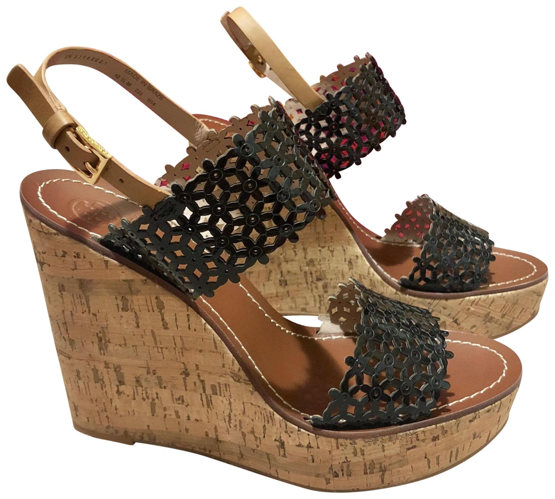 Tory Burch Black Daisy Perforated 125mm Platforms Sandals Cork Leather Tan Wedges Size US 10.5 Regular (M, B)