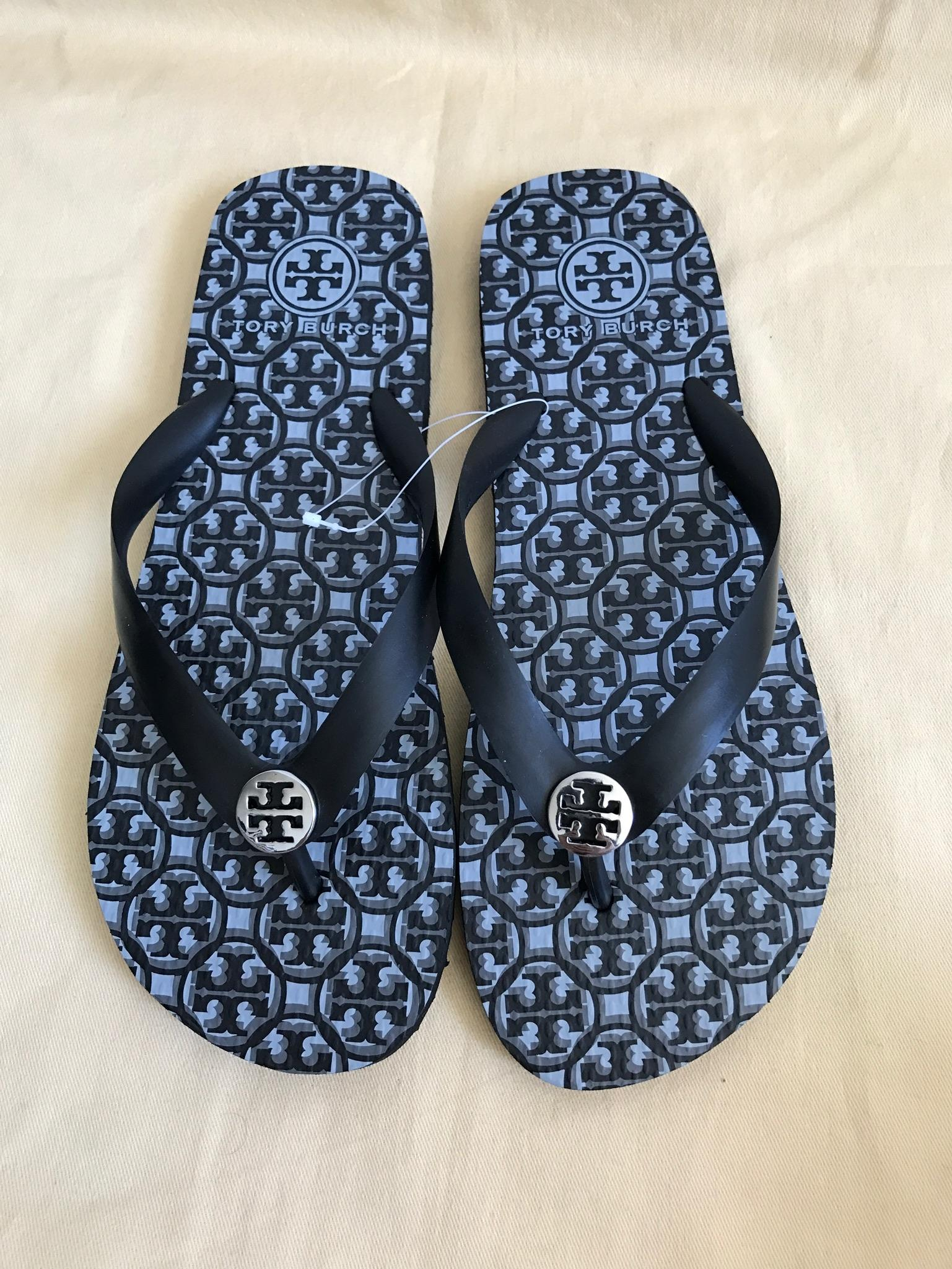 f5373647d83a4 ... Tory Burch Black Logo Latice Combo Combo Combo Thandie Flip Flop  Sandals Size US 8 Regular ...
