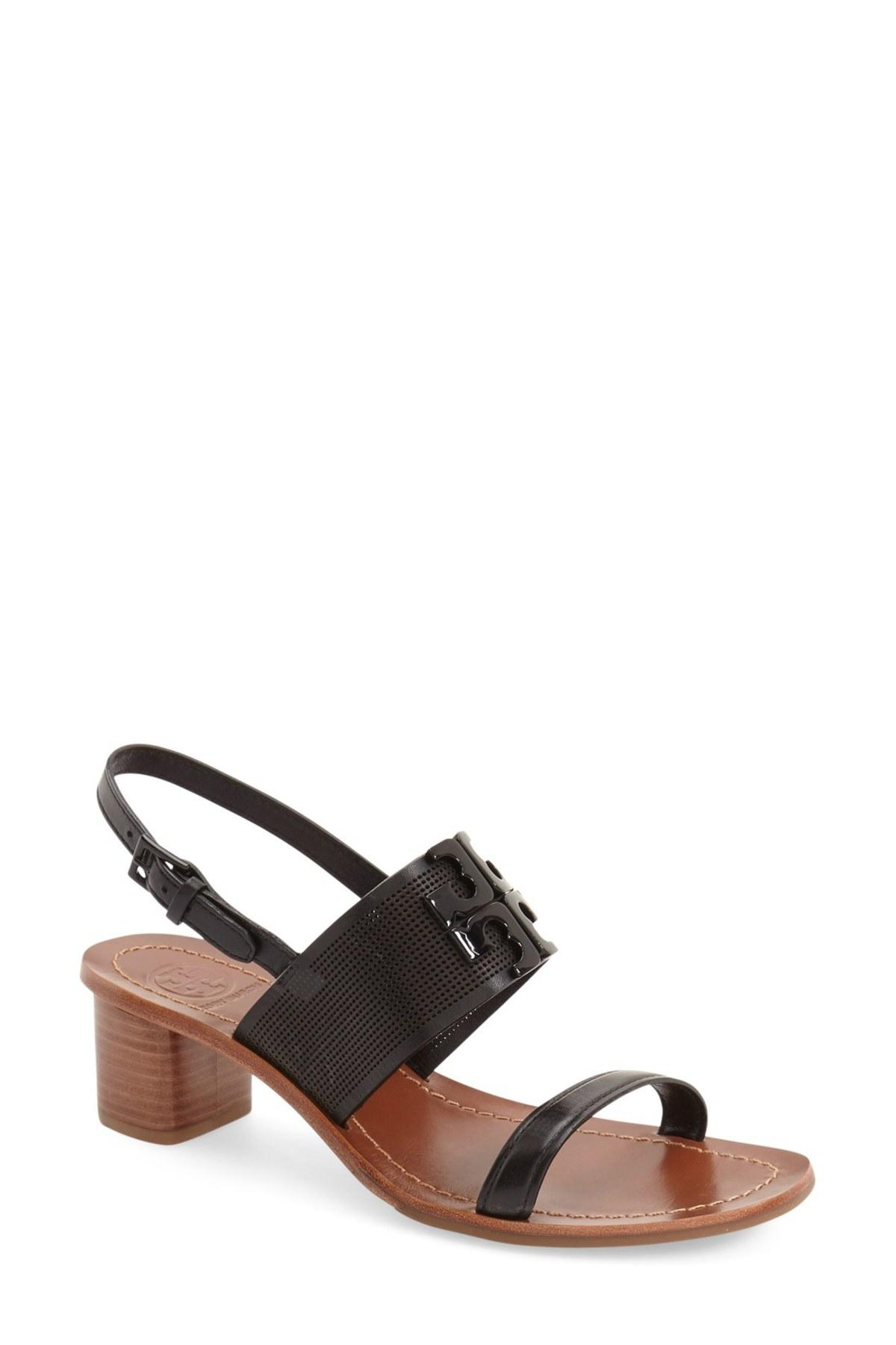 Tory Burch Mesh Leather Brown Strappy Black Sandals