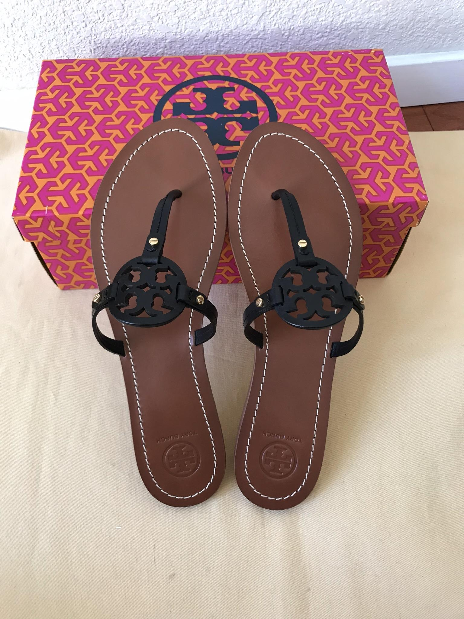ffd8e90d6314 ... Tory Burch Black Mini Miller Flat Sandals Sandals Sandals Size US 8  Regular (M
