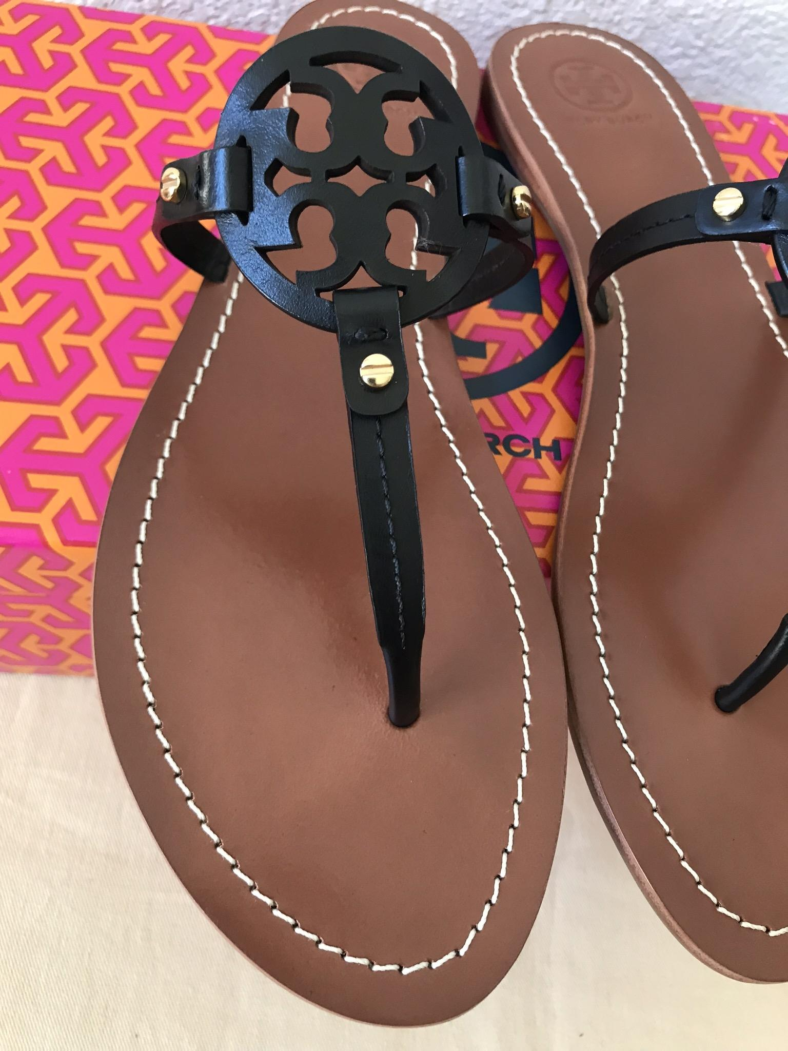 28b93f462 Tory Burch Black Mini Miller Flat Sandals Size US US US 8 Regular (M ...