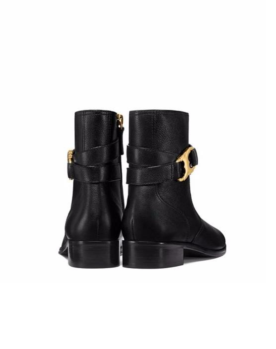 53989aaa1b16 ... Tory Tory Tory Burch Black Pebbled Leather Gemini Boots Booties Size US  5 Regular ...