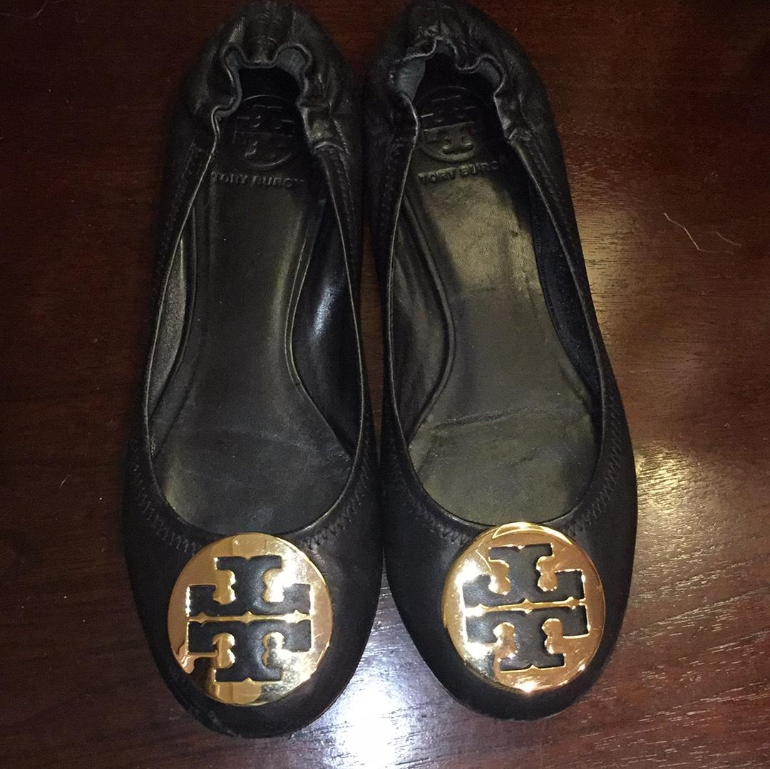 17aad5b41c9a Tory Burch Black with Gold Hardware Reva Reva Reva Flats Size US 8 Regular ( M
