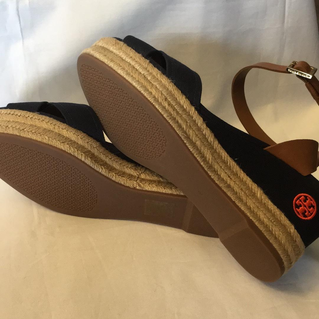 Tory Burch Bright Navy/Royal Tan New In The Box Karissa Espadrille Wedges