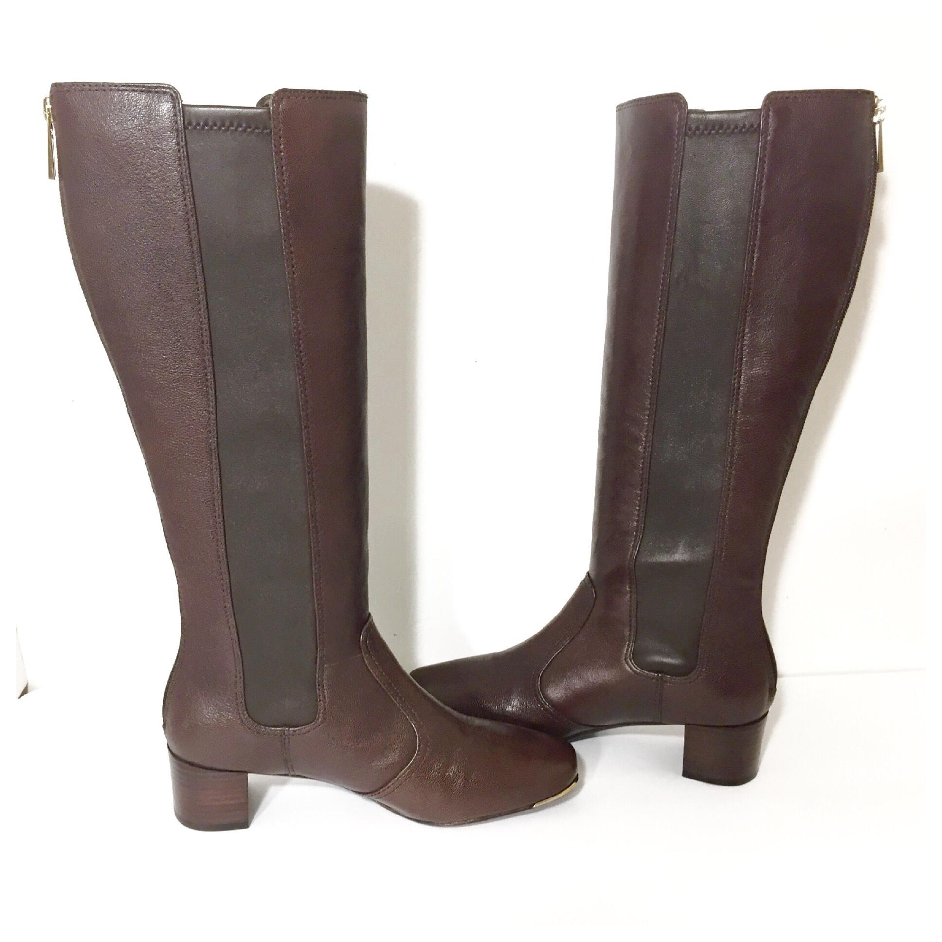 ab82f54ae ... Tory Burch Burch Burch Brown Ireland Stretch Leather Heeled Knee High  Tall Boots Booties Size