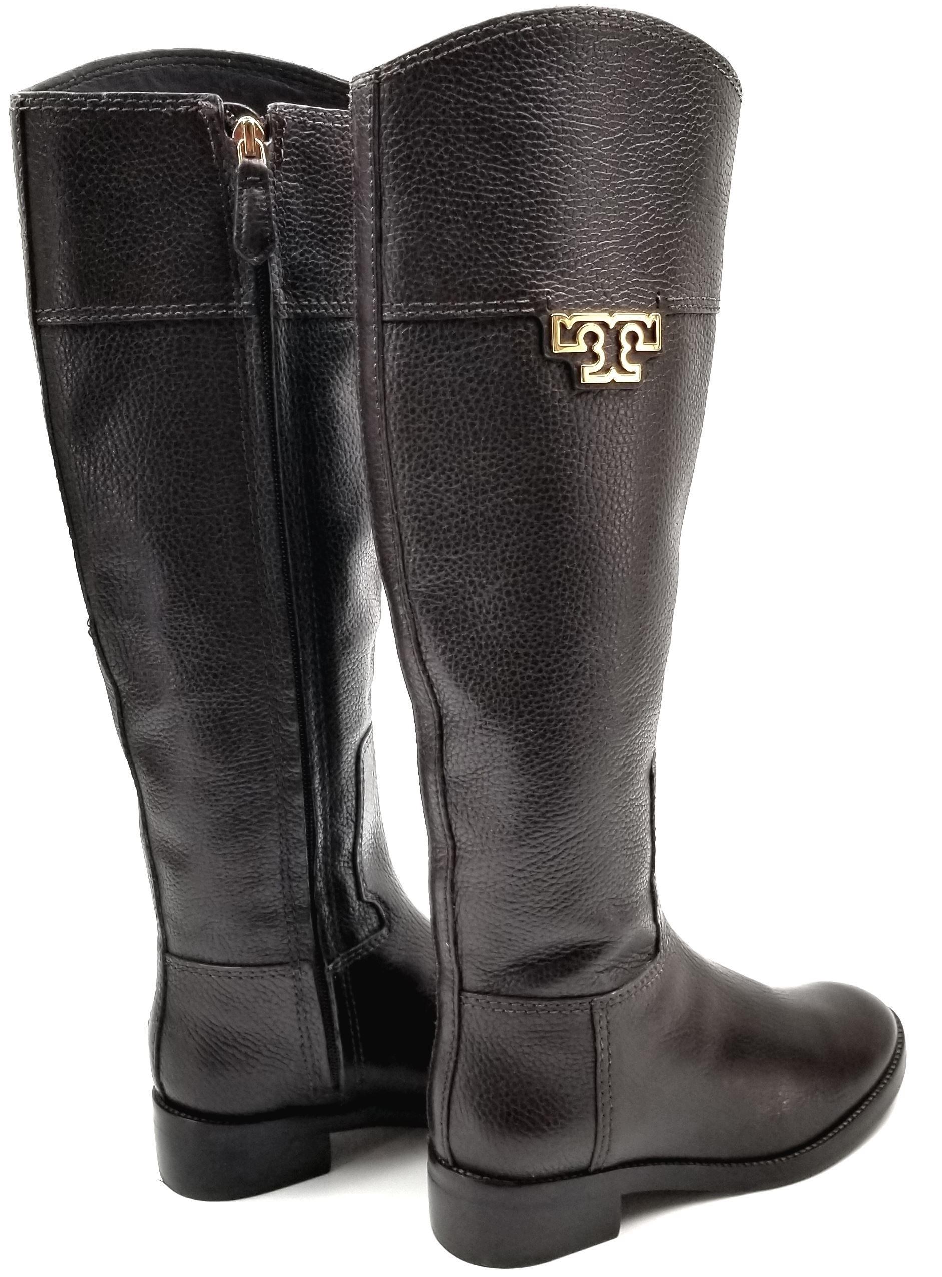 fbec4ff30b2c ... sandals b77c4 d2a54  reduced tory burch burnished leather medallion  logo riding brown boots. 123456789 07649 dfa56